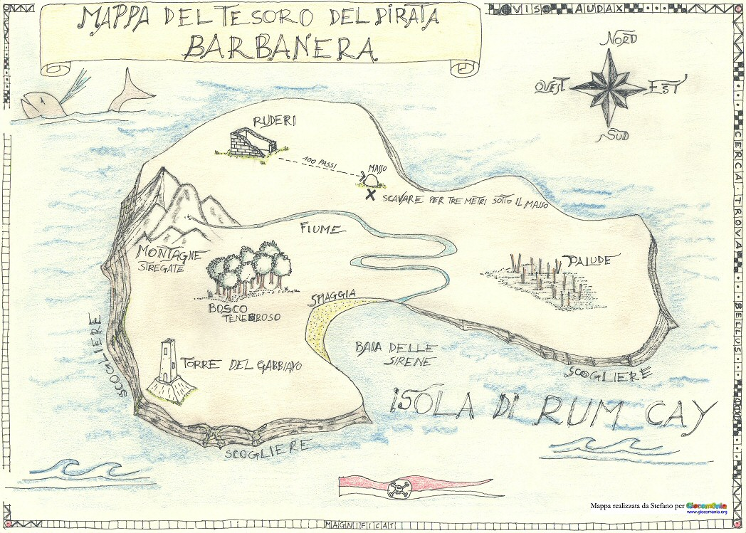 Mappa del tesoro del pirata barbanera treasure map for Disegnare una piantina